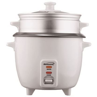 Picture of Brentwood 8 Cup Rice Cooker with Steamer in White (TS-180S)