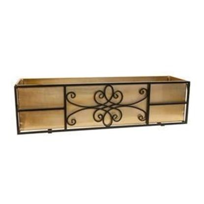 Picture of Black Frame Quatrefoil Window Box with Copper Finish Liner