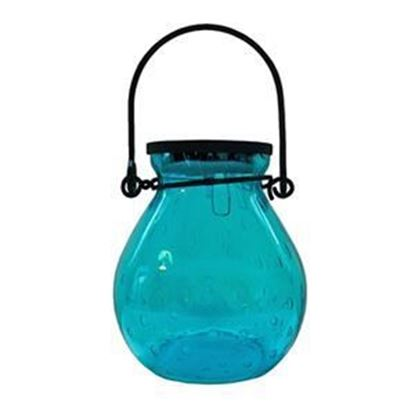 Picture of Bubble Glass Solar Lantern - Turquoise