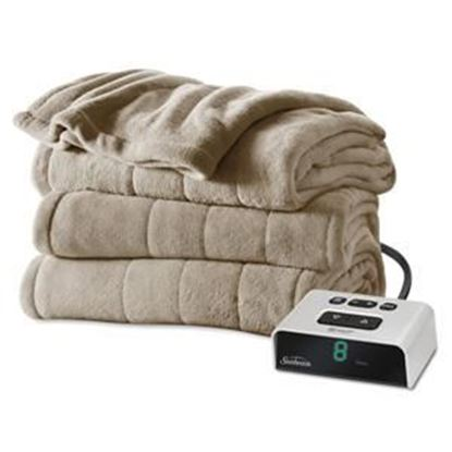 Picture of Sunbeam Channeled Microplush Heated Blanket - Twin