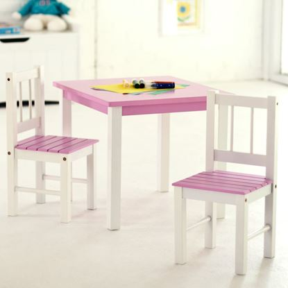 Picture of Child's Table & Chairs, 3-Piece Set (Pink & White, Green & White or White)