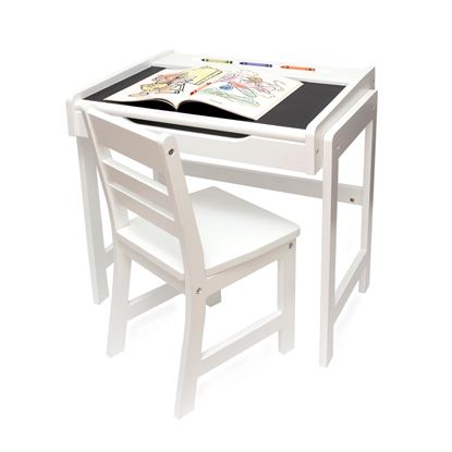 Picture of Child's Desk with Chalkboard Top and Chair Set, White Finish