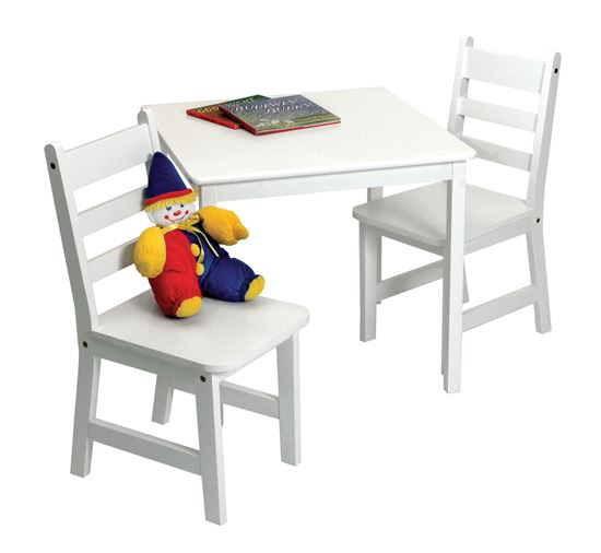 Picture of Child's Square Table & 2 Chairs, 3-Piece Set (White, Pecan, Cherry, Walnut or Espresso Finish)