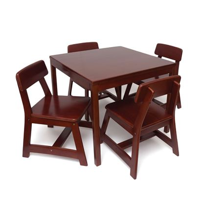 Picture of Child's 5 Piece Square Table and Chair Set, Cherry Finish
