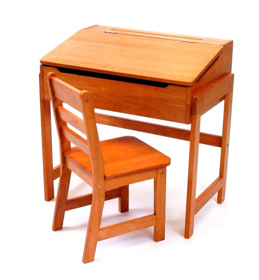 Picture of Child's Slanted Top Desk & Chair, Walnut or Pecan Finish