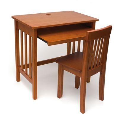 Picture of Child's Computer Desk and Mystic Chair, Pecan or Walnut Finish