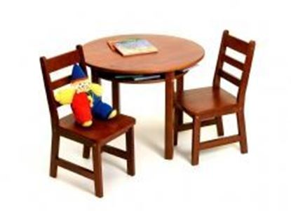 Picture of Child's Round Table with Shelf & 2 Chairs (Cherry, Epsresso, Pecan, Walnut, or White)