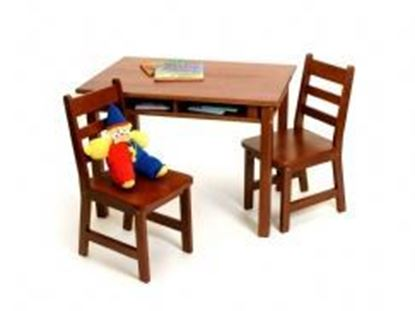 Picture of Child's Rectangular Table with Shelves & 2 Chairs (Cherry, Espresso, Pecan, Walnut or White)
