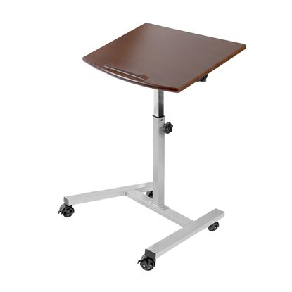 Picture of Tilting Mobile Laptop Desk Cart, Walnut