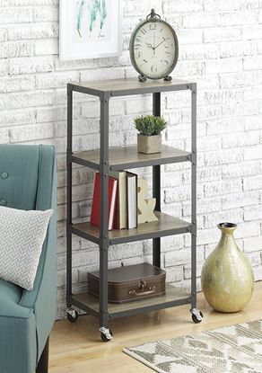 Picture of 4-Tier Metal & Wood Cart - White or Gunmetal
