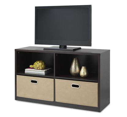 Picture of TV Entertainment Storage Center With Removable Bins, Espresso or Weathered Gray