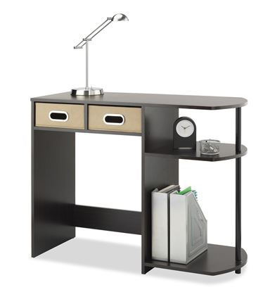 Picture of Computer Writing Desk with Side Shelves & Removable Bins, Natural or Espresso
