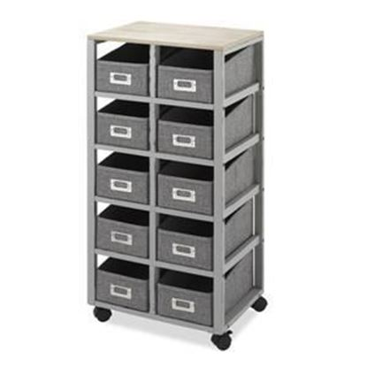 Picture of Multipurpose Storage Cart with 10 Removable Bins, Weathered Gray & Natural