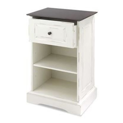 Picture of 2 Shelf Storage Cabinet, Distressed Chestnut & White