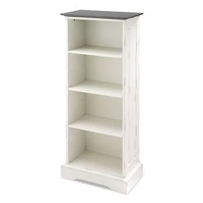 Picture of 4-shelf Storage Cabinet-distressed White w/ Chestnut Top
