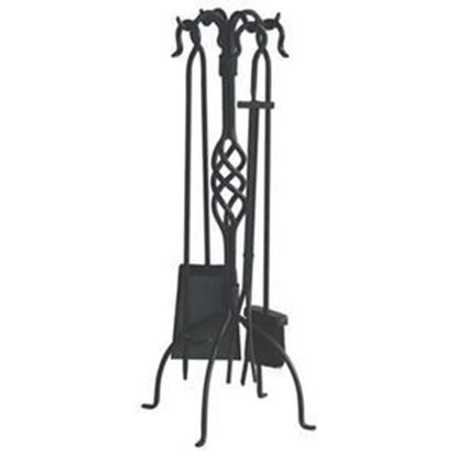 Picture of 5-piece Black Wrought Iron Fireset with Crook Handles