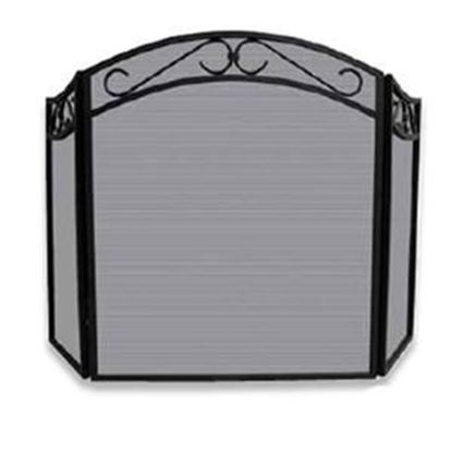Picture of 3 Fold Black Wrought Iron Arch Top Screen with Decorative Scrolls