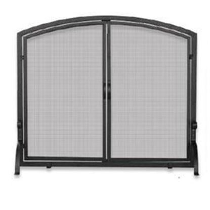 Picture of Single Panel Black Wrought Iron Screen with Doors - Medium